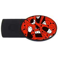 Playful Abstract Art   Red Usb Flash Drive Oval (4 Gb)  by Valentinaart