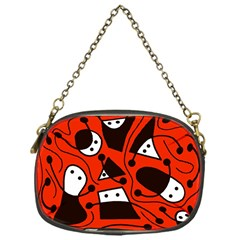 Playful Abstract Art   Red Chain Purses (one Side)  by Valentinaart