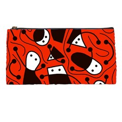 Playful Abstract Art   Red Pencil Cases by Valentinaart