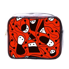 Playful Abstract Art - Red Mini Toiletries Bags by Valentinaart