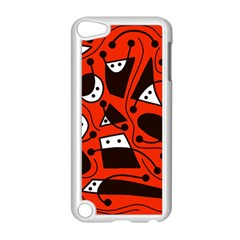 Playful Abstract Art   Red Apple Ipod Touch 5 Case (white) by Valentinaart