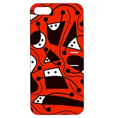 Playful Abstract Art   Red Apple Iphone 5 Hardshell Case With Stand by Valentinaart