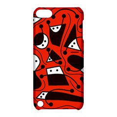 Playful Abstract Art   Red Apple Ipod Touch 5 Hardshell Case With Stand by Valentinaart
