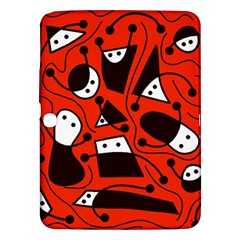 Playful Abstract Art   Red Samsung Galaxy Tab 3 (10 1 ) P5200 Hardshell Case  by Valentinaart