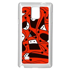 Playful Abstract Art - Red Samsung Galaxy Note 4 Case (white) by Valentinaart