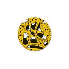 Playful Abstract Art   Yellow Golf Ball Marker (4 Pack) by Valentinaart