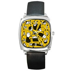 Playful Abstract Art   Yellow Square Metal Watch by Valentinaart