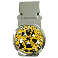 Playful Abstract Art   Yellow Money Clip Watches by Valentinaart