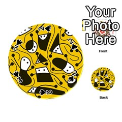 Playful Abstract Art   Yellow Playing Cards 54 (round)  by Valentinaart