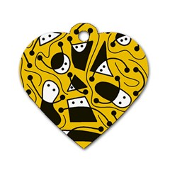 Playful Abstract Art   Yellow Dog Tag Heart (two Sides) by Valentinaart