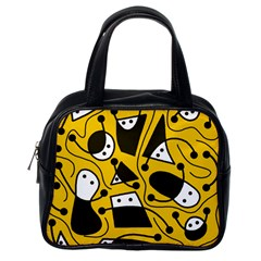 Playful Abstract Art   Yellow Classic Handbags (one Side) by Valentinaart