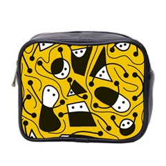 Playful Abstract Art   Yellow Mini Toiletries Bag 2 Side by Valentinaart