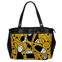 Playful Abstract Art   Yellow Office Handbags by Valentinaart