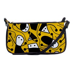 Playful Abstract Art   Yellow Shoulder Clutch Bags by Valentinaart