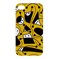 Playful Abstract Art   Yellow Apple Iphone 4/4s Hardshell Case by Valentinaart