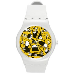 Playful Abstract Art   Yellow Round Plastic Sport Watch (m) by Valentinaart