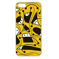 Playful Abstract Art   Yellow Apple Seamless Iphone 5 Case (clear) by Valentinaart