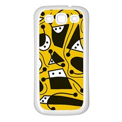 Playful Abstract Art   Yellow Samsung Galaxy S3 Back Case (white) by Valentinaart
