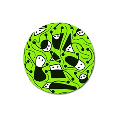 Playful Abstract Art   Green Magnet 3  (round) by Valentinaart