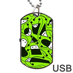 Playful Abstract Art   Green Dog Tag Usb Flash (two Sides)  by Valentinaart