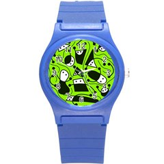 Playful Abstract Art   Green Round Plastic Sport Watch (s) by Valentinaart
