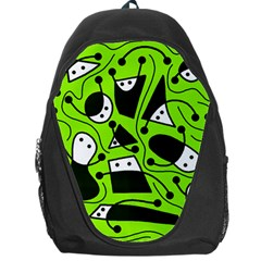 Playful Abstract Art   Green Backpack Bag by Valentinaart