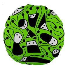 Playful Abstract Art   Green Large 18  Premium Round Cushions by Valentinaart