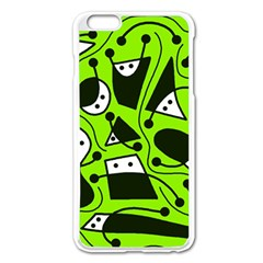 Playful Abstract Art   Green Apple Iphone 6 Plus/6s Plus Enamel White Case by Valentinaart