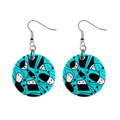 Playful Abstract Art   Cyan Mini Button Earrings by Valentinaart