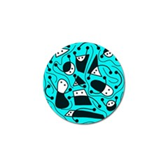 Playful Abstract Art   Cyan Golf Ball Marker by Valentinaart