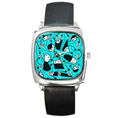 Playful Abstract Art   Cyan Square Metal Watch by Valentinaart