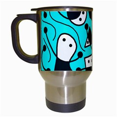 Playful Abstract Art   Cyan Travel Mugs (white) by Valentinaart