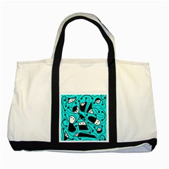 Playful Abstract Art   Cyan Two Tone Tote Bag by Valentinaart