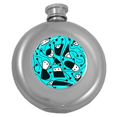 Playful Abstract Art   Cyan Round Hip Flask (5 Oz) by Valentinaart