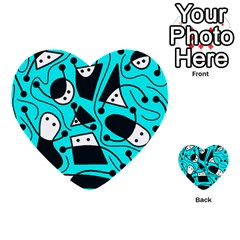 Playful Abstract Art   Cyan Multi Purpose Cards (heart)  by Valentinaart
