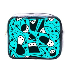 Playful Abstract Art   Cyan Mini Toiletries Bags by Valentinaart
