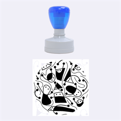Playful Abstract Art   Cyan Rubber Round Stamps (medium) by Valentinaart