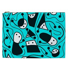 Playful Abstract Art   Cyan Cosmetic Bag (xxl)  by Valentinaart