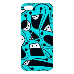 Playful Abstract Art   Cyan Iphone 5s/ Se Premium Hardshell Case by Valentinaart
