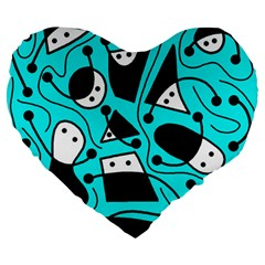 Playful Abstract Art   Cyan Large 19  Premium Flano Heart Shape Cushions by Valentinaart