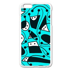 Playful Abstract Art   Cyan Apple Iphone 6 Plus/6s Plus Enamel White Case