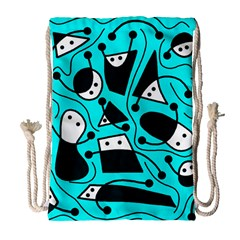 Playful Abstract Art   Cyan Drawstring Bag (large) by Valentinaart