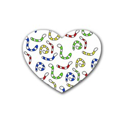 Colorful Worms  Rubber Coaster (heart)  by Valentinaart