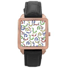 Colorful Worms  Rose Gold Leather Watch  by Valentinaart