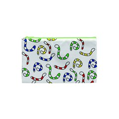 Colorful Worms  Cosmetic Bag (xs) by Valentinaart