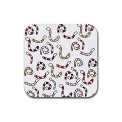 Cute Worms Rubber Coaster (square)  by Valentinaart