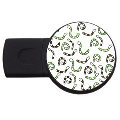 Green Worms Usb Flash Drive Round (4 Gb)  by Valentinaart