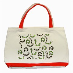 Green Worms Classic Tote Bag (red) by Valentinaart