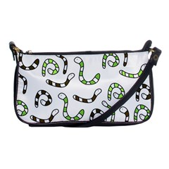 Green Worms Shoulder Clutch Bags by Valentinaart