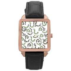 Green Worms Rose Gold Leather Watch  by Valentinaart
